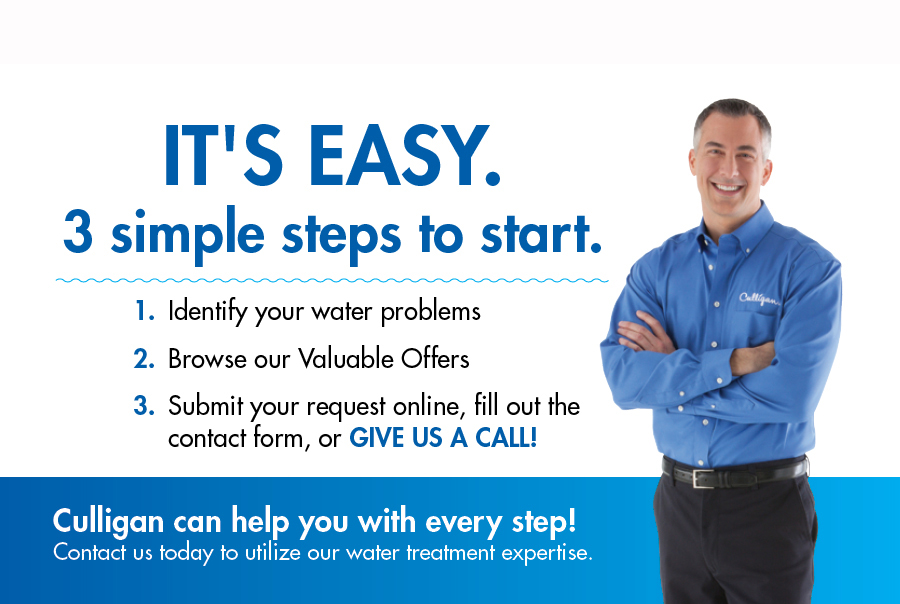 Steps to Contacting Culligan, identify water problems, browse valuable offers, submit request online